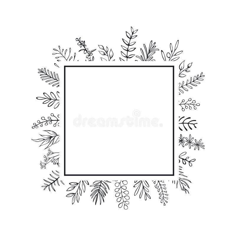 Kwiecista ręka rysujący domu wiejskiego styl zarysowywający kapuje gałąź kwadrata ramę czarny i biały royalty ilustracja