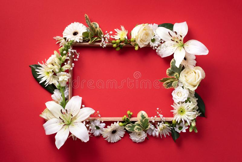 Kwiecista rama biali kwiaty, zieleni liście na czerwieni tapetuje tło Mieszkanie nieatutowy, odg?rny widok Wiosna i lata poj?cie zdjęcia royalty free