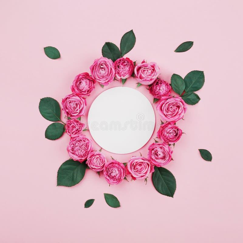 Kwiecista rama robić puste miejsce, menchii róży kwiaty i zieleń liście biali, na pastelowego tła odgórnym widoku Mieszkania niea obrazy stock