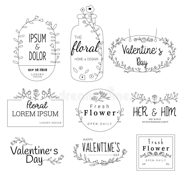 Kwiecista rama ustawia dla poślubiać, kwiatu sklep dla drukować, karta, sztandar, produkt wektor ilustracja wektor