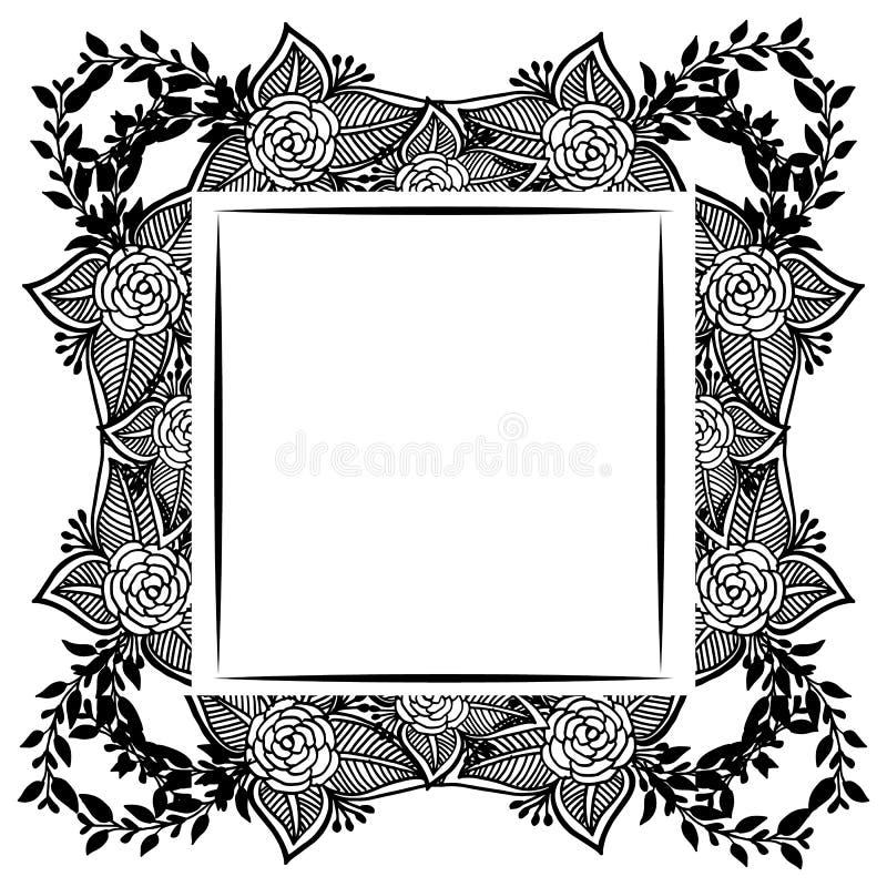 Kwiecista rama z ślicznym kwiatem dla wzoru karta, wektor ilustracja wektor