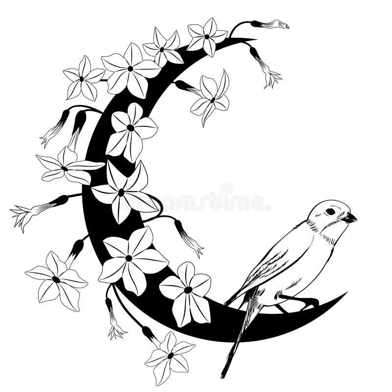 Kwiecista rama z ptakiem i kwiatonośnym tytoniem ilustracji