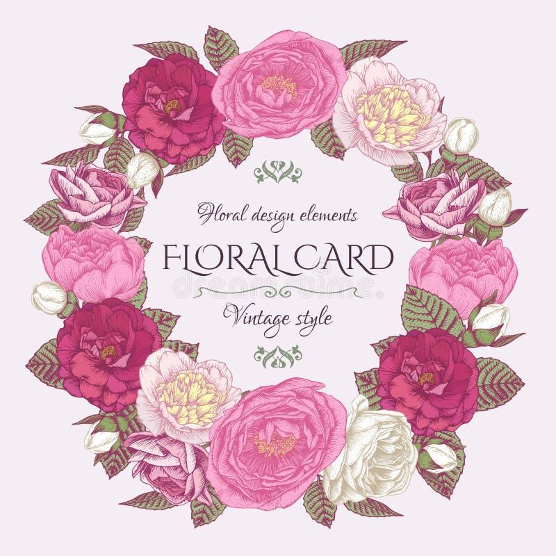 Kwiecista rama z różami i peoniami Rocznika zaproszenia karta w podławym szyka stylu ilustracja wektor