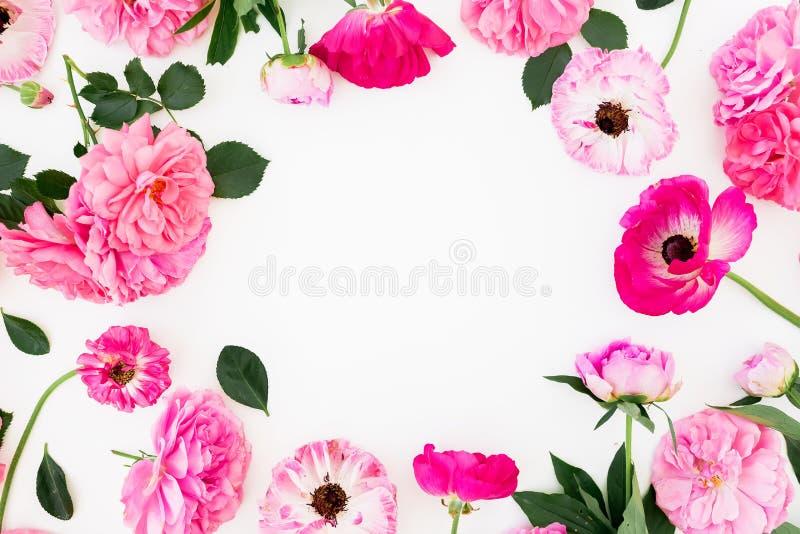 Kwiecista rama z różowymi różami i anemonami na białym tle Mieszkanie nieatutowy, odgórny widok Pastel kwitnie skład zdjęcia stock