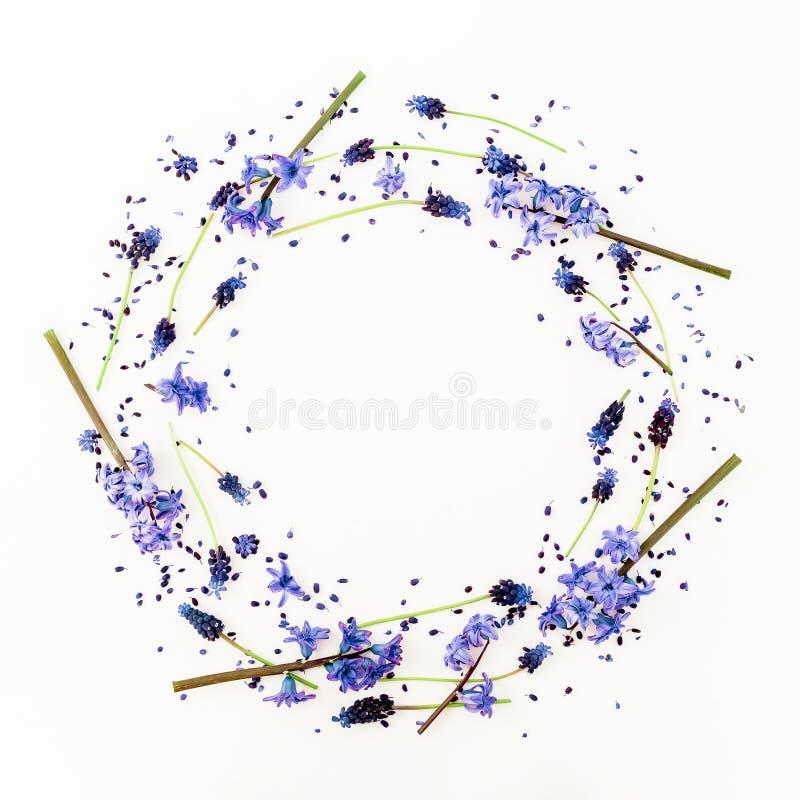 Kwiecista rama z wiosna kwiatami i różowym hiacyntowym kwiatem na białym tle Mieszkanie nieatutowy, odgórny widok obraz stock