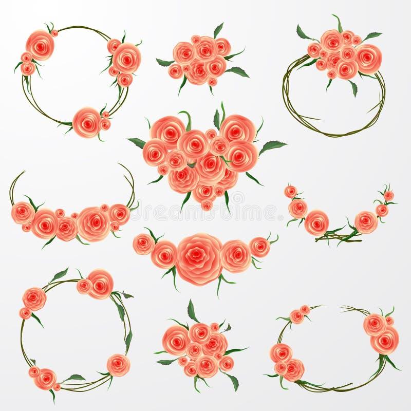 Kwiecista Ramowa kolekcja Set menchii róża kwitnie perfect dla ślubnych zaproszeń i urodzinowych kart ilustracja wektor