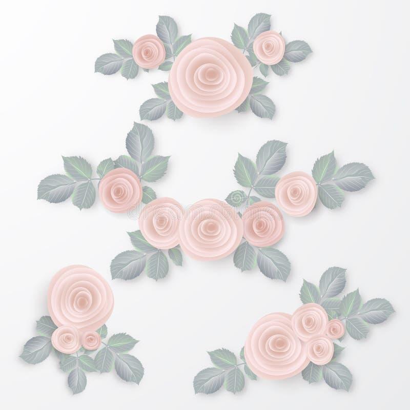 Kwiecista Ramowa kolekcja Set menchii róża kwitnie perfect dla ślubnych zaproszeń i urodzinowych kart ilustracji