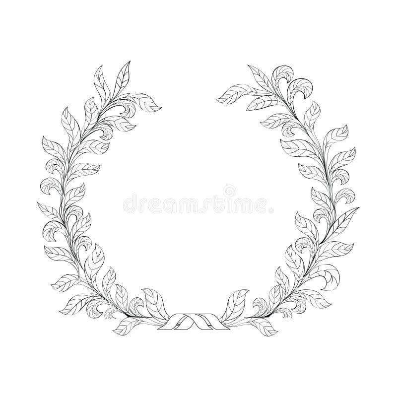 Kwiecista ramy gałąź z liścia wianku wystroju natury tłem royalty ilustracja