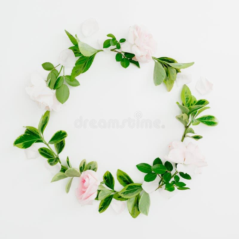 Kwiecista round rama pastelowych menchii zieleń i róże opuszcza na białym tle Mieszkanie nieatutowy, odgórny widok Wiosna czasu s obraz royalty free