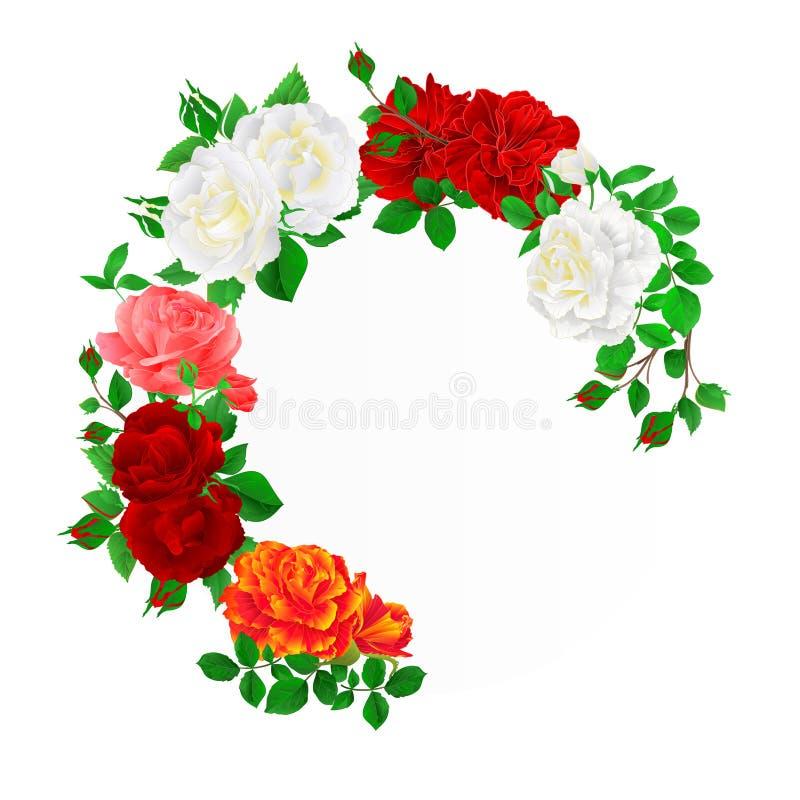 Kwiecista round rama z róż i pączków rocznika tła świątecznym wektorem ilustracji