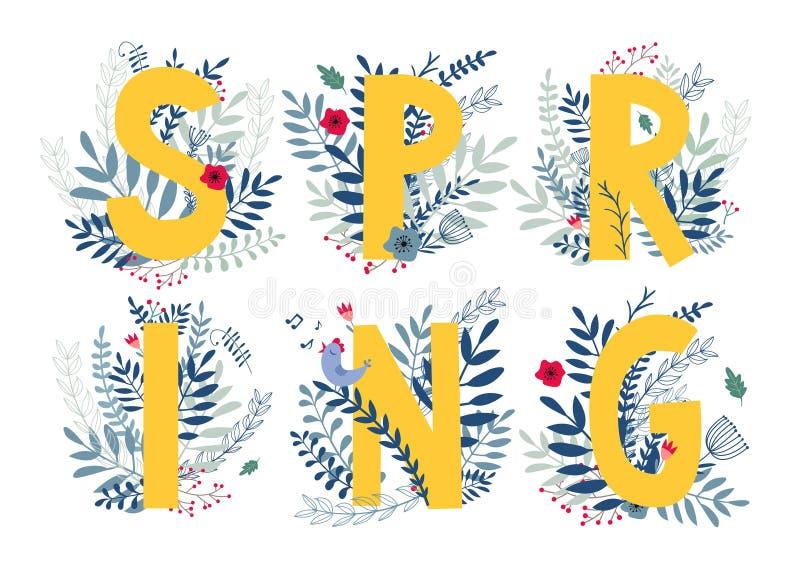 Kwiecista słowo wiosna ilustracja wektor
