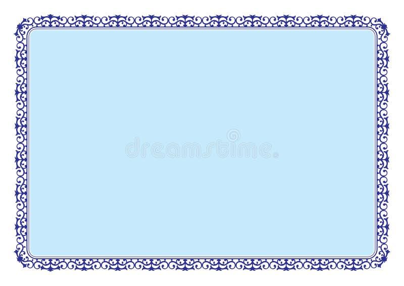 Kwiecista stylowa błękit rama dla świadectwa lub książki strony granicy royalty ilustracja