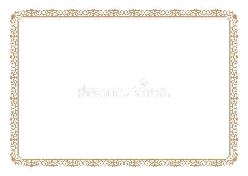 Kwiecista stylowa złoto rama dla świadectwa lub książki strony granicy royalty ilustracja