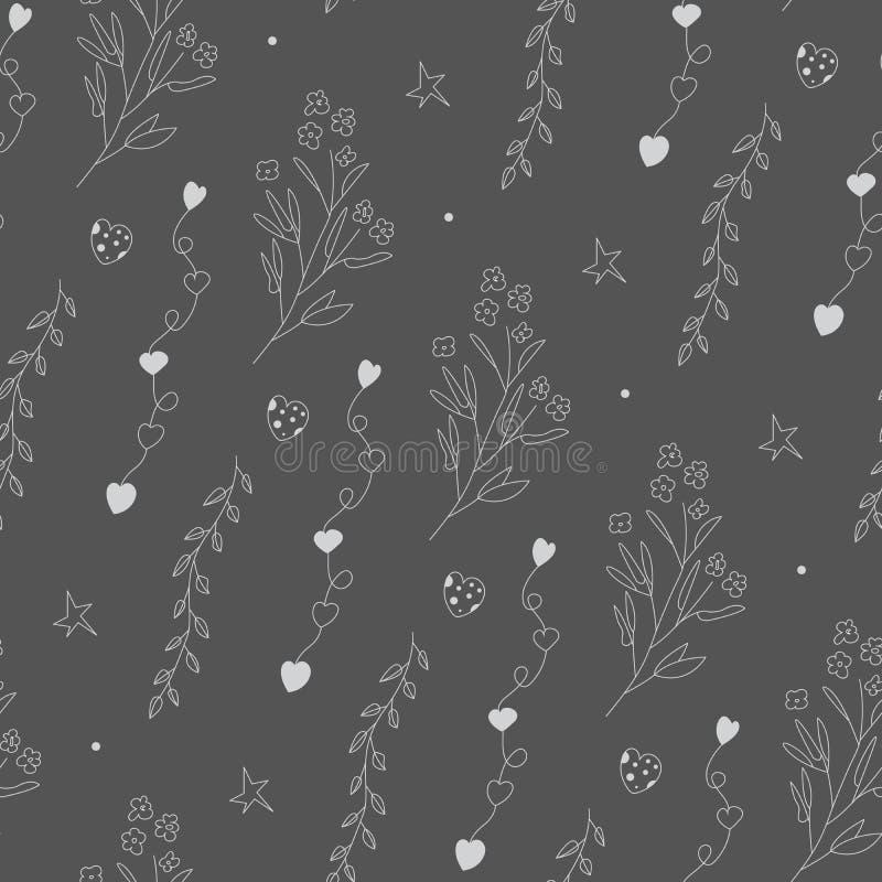 Kwiecista sylwetka na zmroku - szary tło Wektorowy bezszwowy wzór z uroczymi kreskówka elementami ilustracji