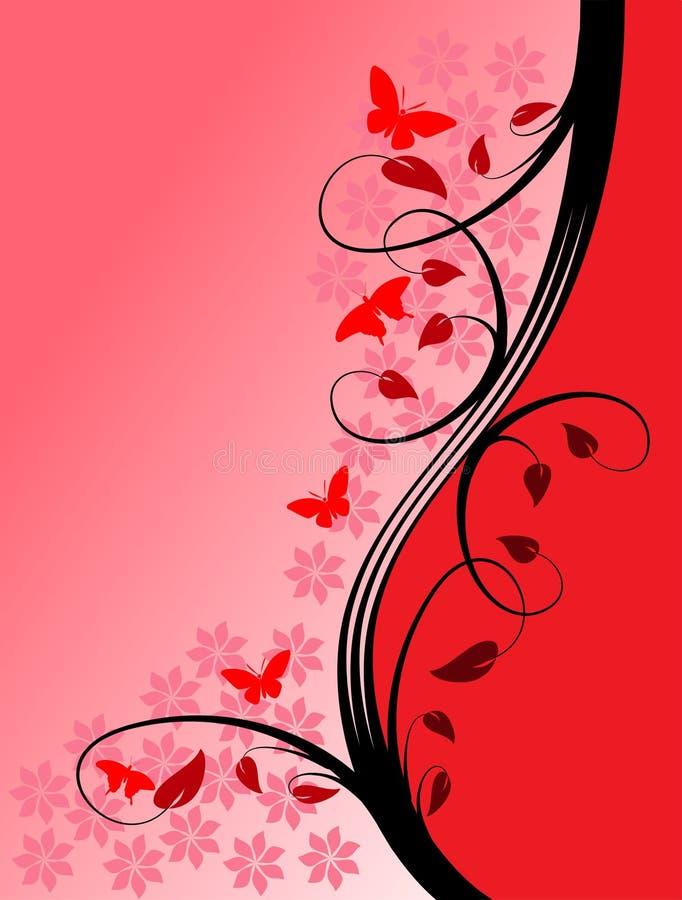 kwiecista tło czerwień ilustracja wektor