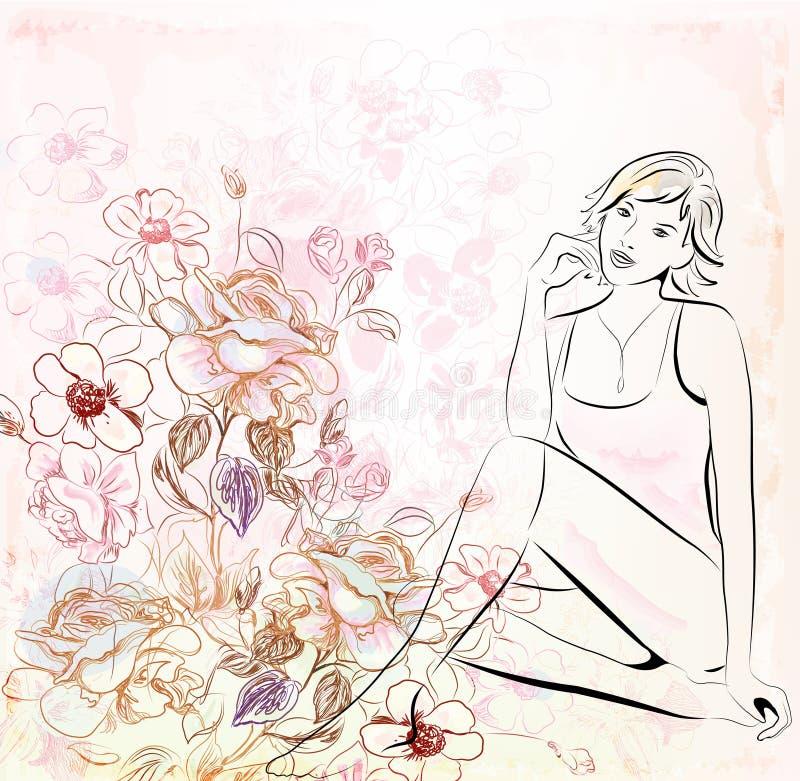 kwiecista tło dziewczyna royalty ilustracja