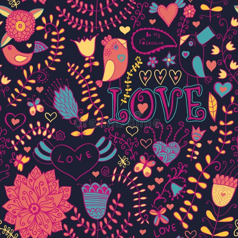 Kwiecista tekstura. Miłość wzór z para ptakami w miłości. Odbitkowy s ilustracja wektor