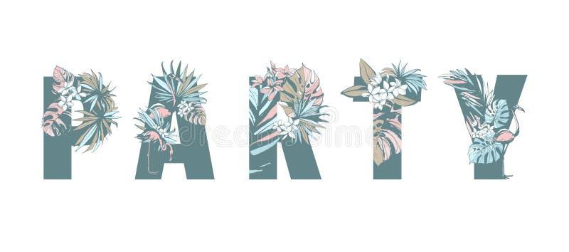 Kwiecista tropikalna deseniowa ręka rysujący PARTYJNI palma liście, kwiaty, ptaki royalty ilustracja