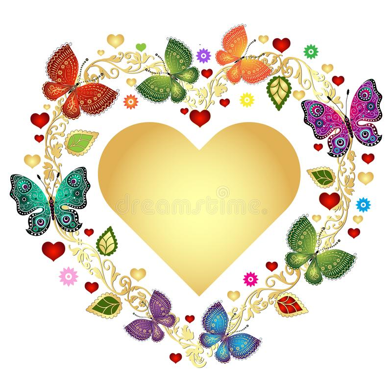 Kwiecista valentine rama z złocistym sercem i kolorowymi motylami ilustracja wektor