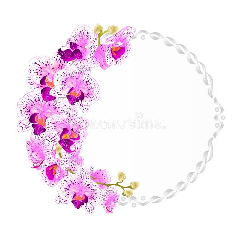Kwiecista wektorowa round rama z orchidei purpury i biały kwiatów tropikalnymi roślinami ilustracji