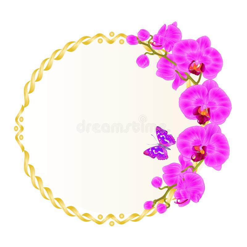 Kwiecista wektorowa round złota rama z orchidei purpurami kwitnie tropikalnych rośliien Phalaenopsis i ślicznego małego motyliego royalty ilustracja