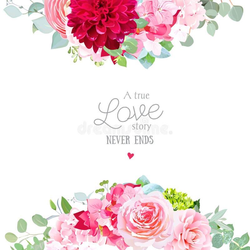 Kwiecista wektorowa sztandar rama z menchii różą, hortensja, royalty ilustracja