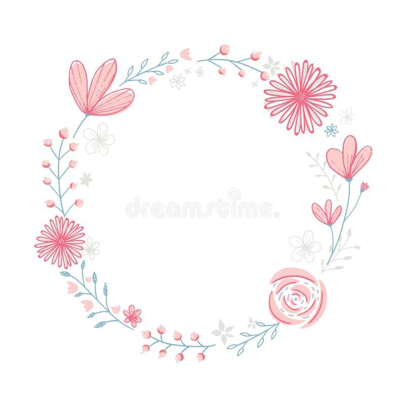 Kwiecista wianek rama z copyspace Ręka rysujący pastelowych menchii kwiaty i gałąź royalty ilustracja