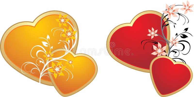 kwiecista złocista serc ornamentu czerwień ilustracji