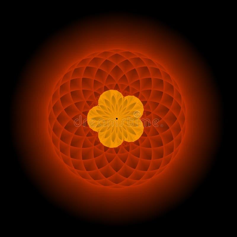kwiecista złota fractal czerwony ilustracji