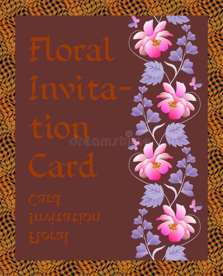 Kwiecista zaproszenie karta z pionowo wiankiem kosmos, dzwonkowi kwiaty i liście na ciemnego brązu tle, Wektorowy wiosna projekt royalty ilustracja