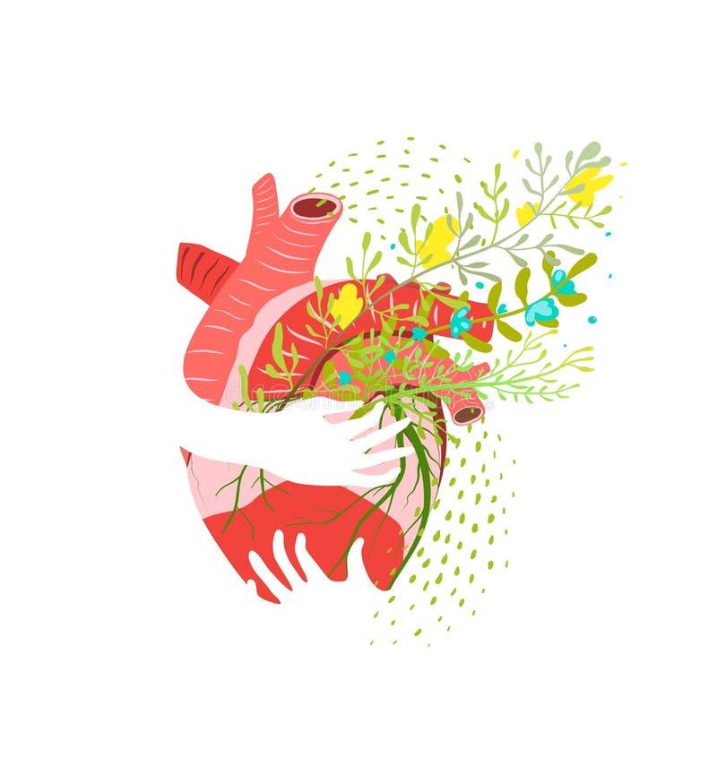 Kwiecista Zdrowa kierowa abstrakcjonistyczna płaska wektorowa ilustracja ilustracja wektor