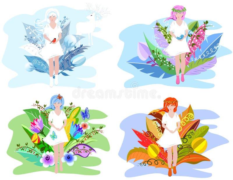 Kwieciste dziewczyny Cztery sezonów abstrakcji pojęcie dla twój projekta z surrealistycznymi kwiatami royalty ilustracja