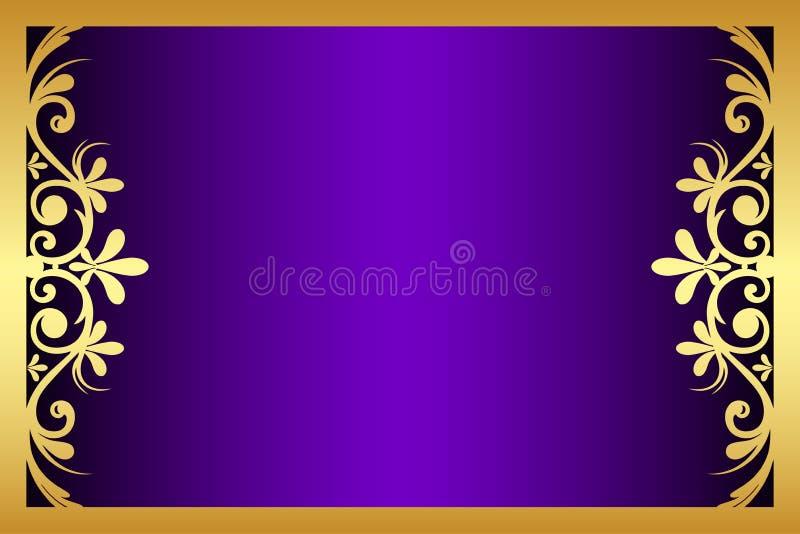 Kwieciste purpury i złoto rama ilustracja wektor