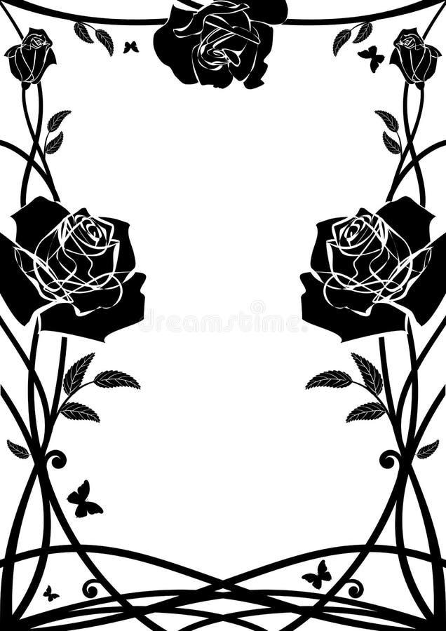 kwieciste ramowe róże ilustracji