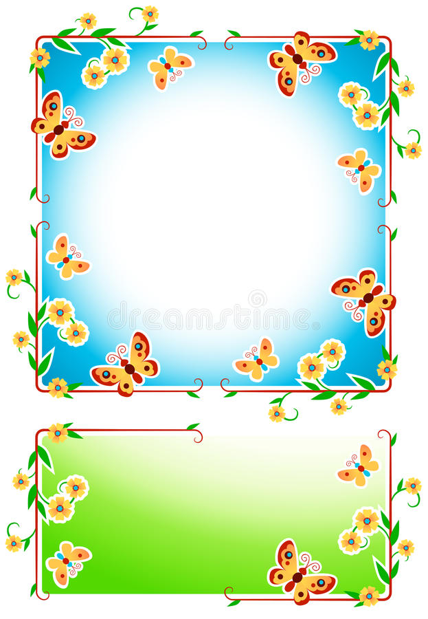 kwieciste ramy ilustracja wektor