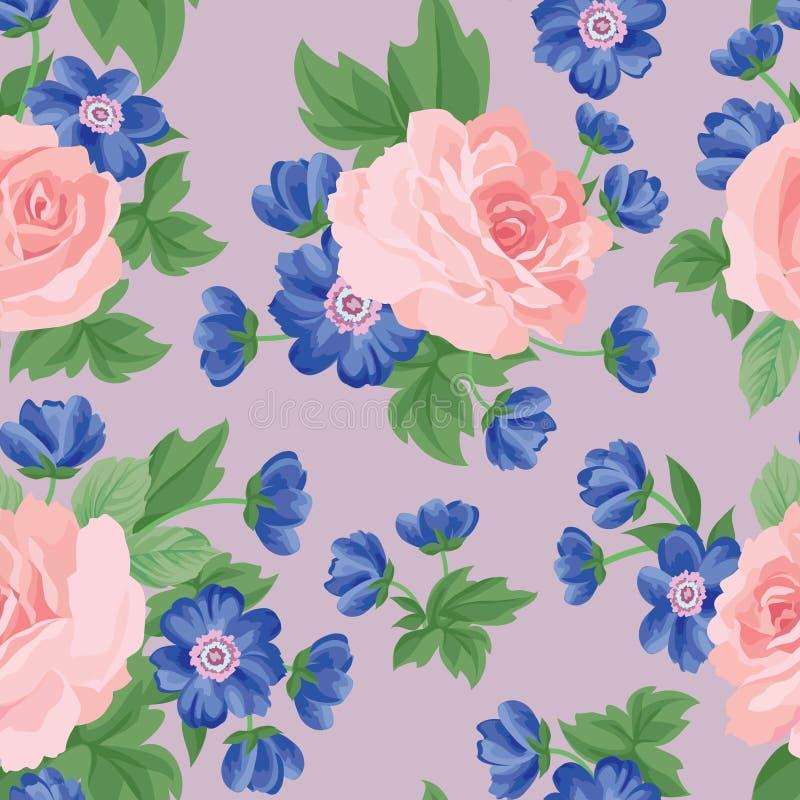 Kwiecistego bukieta bezszwowy wzór Kwiatu posy tło ilustracja wektor