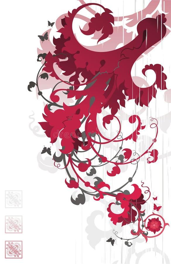 kwiecistego czerwony ornamentu ilustracji