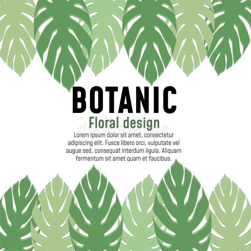 Kwiecistego greenery botaniczny plakatowy karciany projekt ilustracja wektor