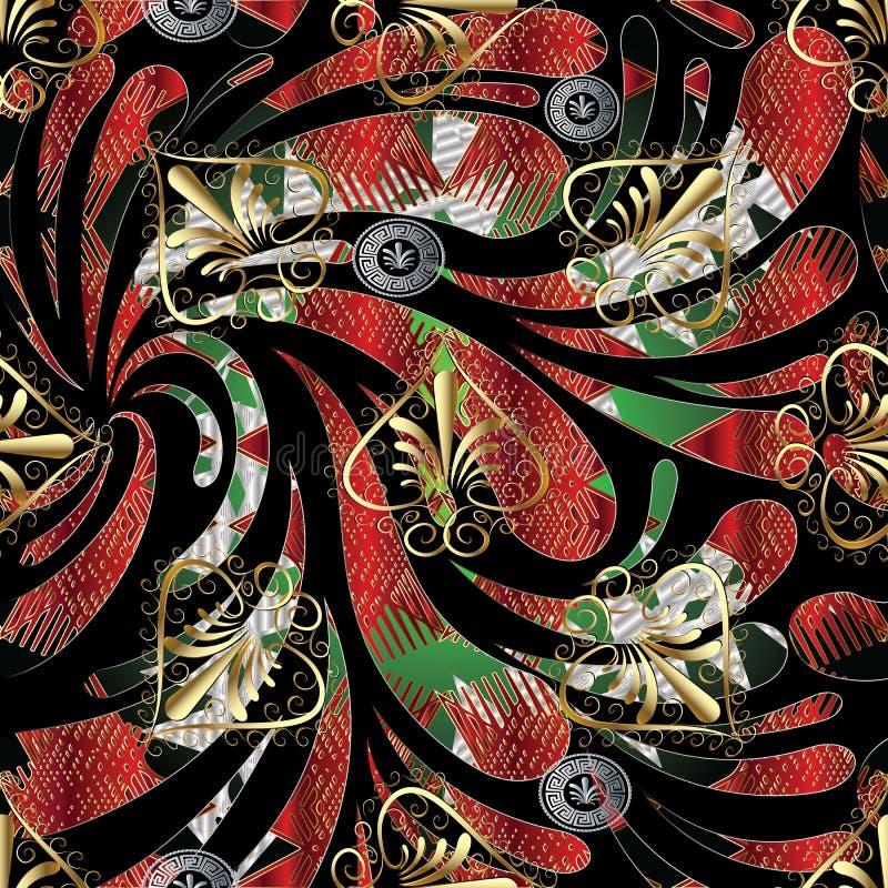 Kwiecistego grka klucza meanderu bezszwowy wzór Wektorowy kolorowy backg ilustracji