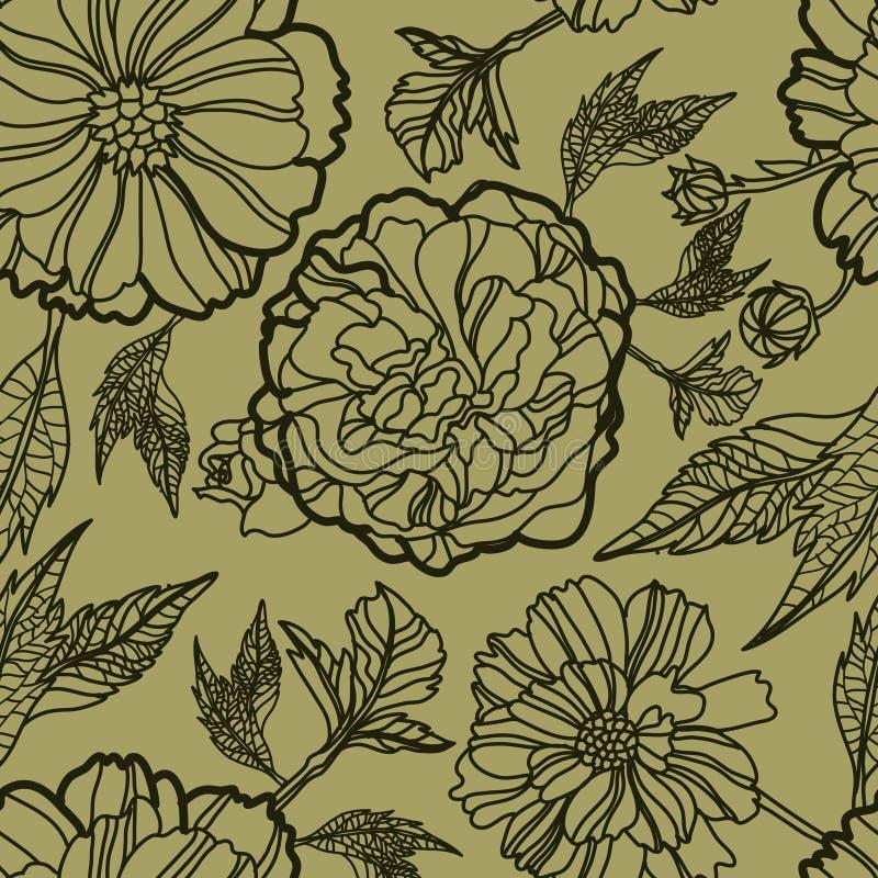 kwiecistego herbarium wzoru bezszwowy wektor royalty ilustracja
