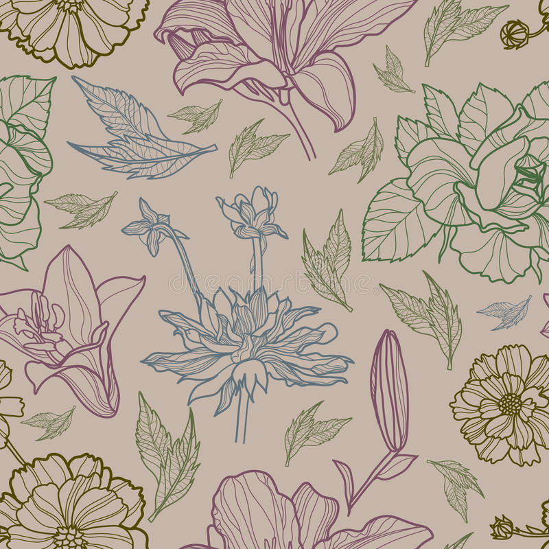 kwiecistego herbarium wzoru bezszwowy wektor ilustracji