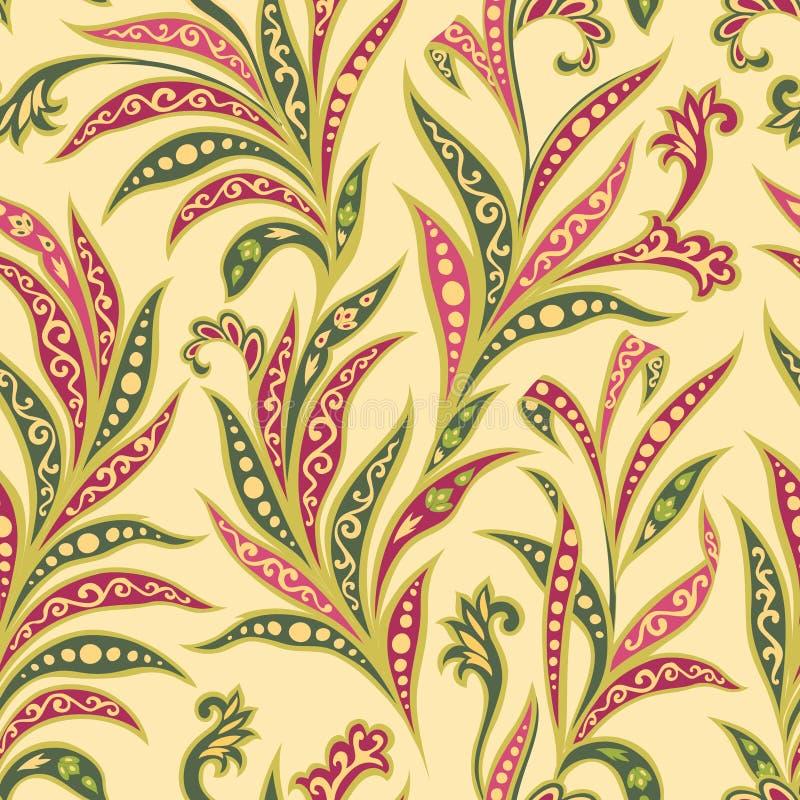Kwiecistego liścia bezszwowy wzór Gałąź z liścia ornamentem Arabi royalty ilustracja