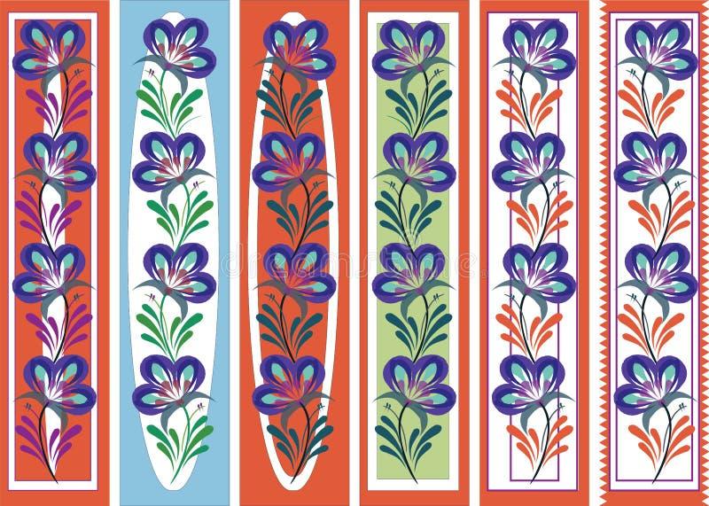 Kwiecistego ornamentacyjnego bookmark petrykiva ludowy styl royalty ilustracja