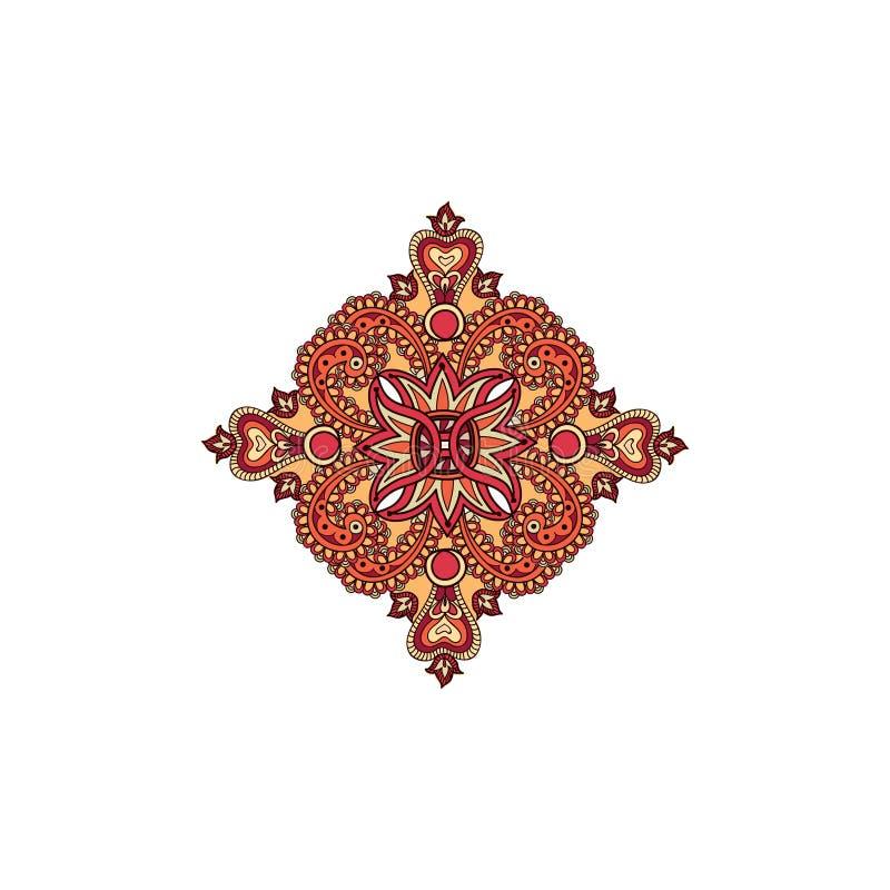 Kwiecistego ornamentu mandala Arabskiego kwiatu projekta Ornamentacyjny element ilustracja wektor