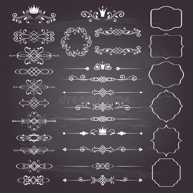 Kwiecistego projekta elementów ogromny set, ornamentacyjne rocznik ramy z koronami w bielu