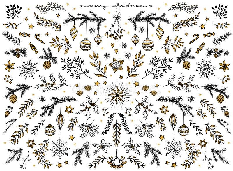 Kwiecistego projekta elementy dla bożych narodzeń, z złocistą folią ilustracji