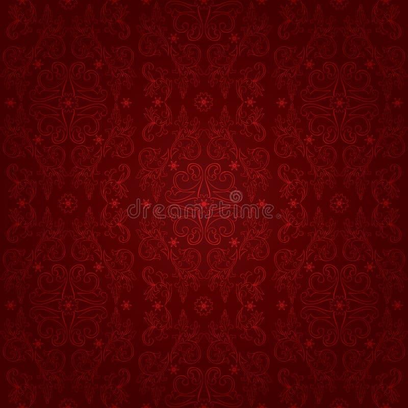 Kwiecistego rocznika bezszwowy wzór na czerwonym tle royalty ilustracja