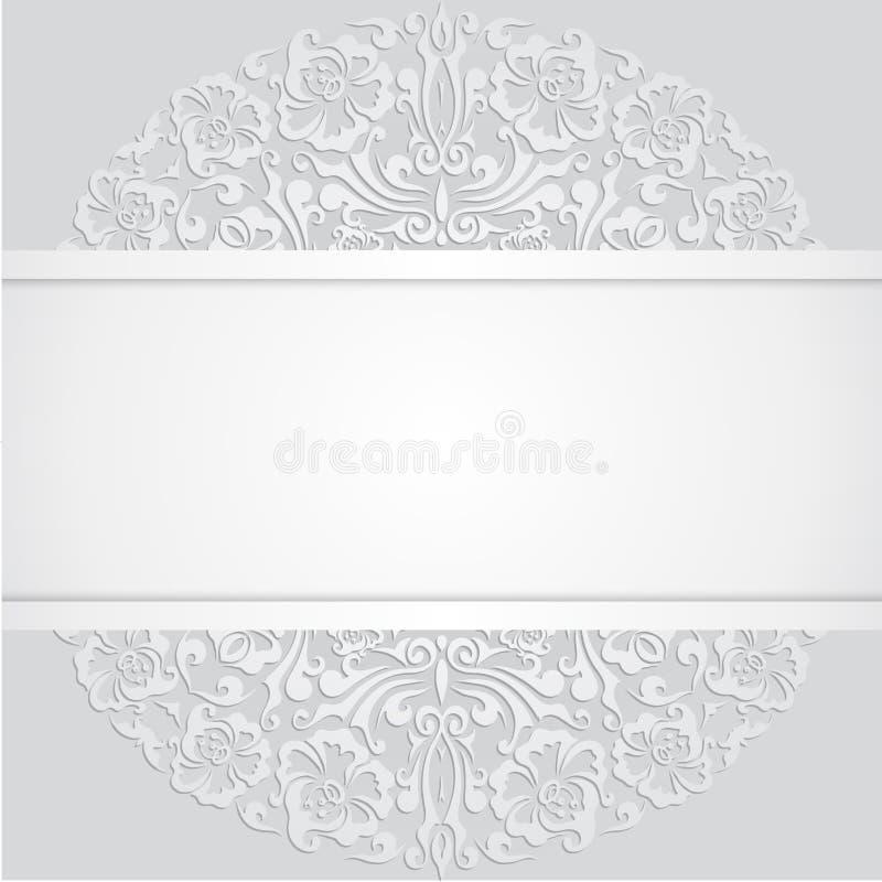 Kwiecistego zawijasa bielu 3d zaproszenia Wektorowe karty ilustracji