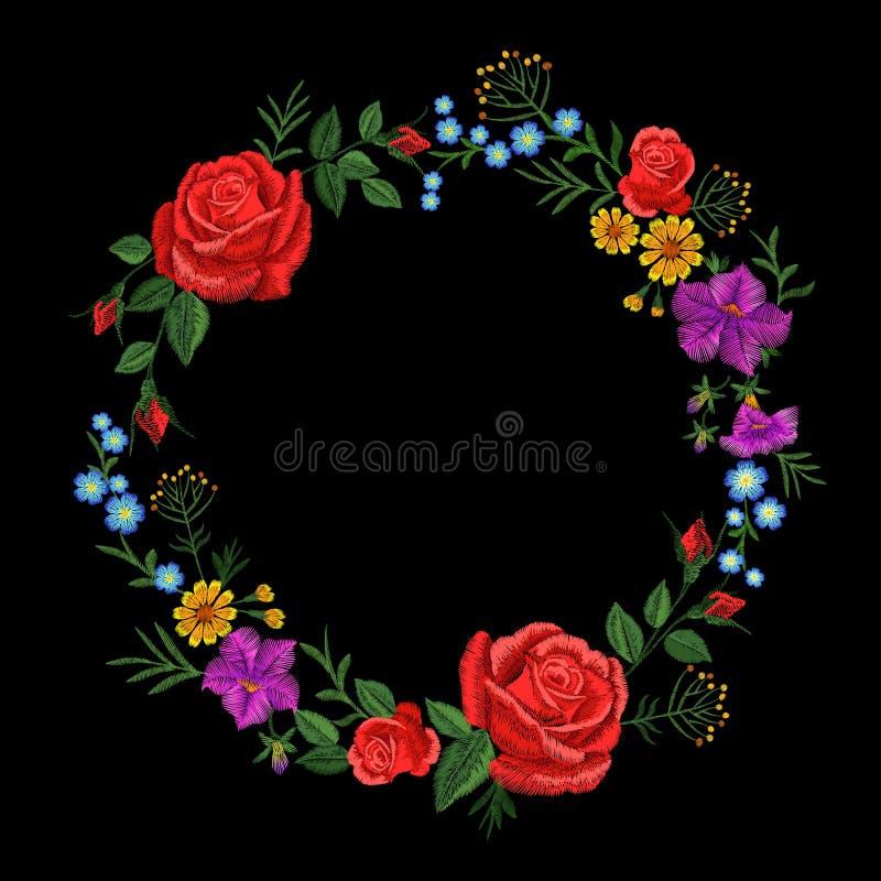 Kwiecistej czerwieni róży błękitnej fiołkowej stokrotki hafciarski round przygotowania Rocznika kwiatu ornamentu mody tkaniny Wik royalty ilustracja