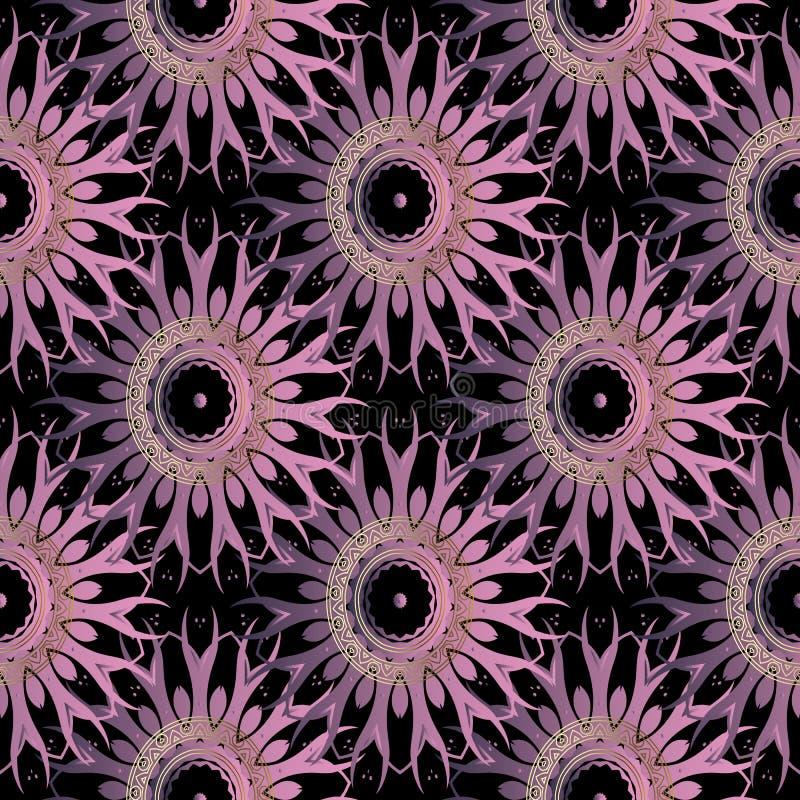Kwiecistej elegancji wektorowy bezszwowy wzór Piękni kafelkowi fiołków kwiaty Złociści round koronki mandalas Czarny ornamentacyj ilustracji